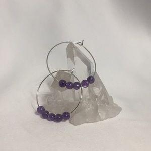 AMETHYST Gemstone Hoop Earrings- NEW